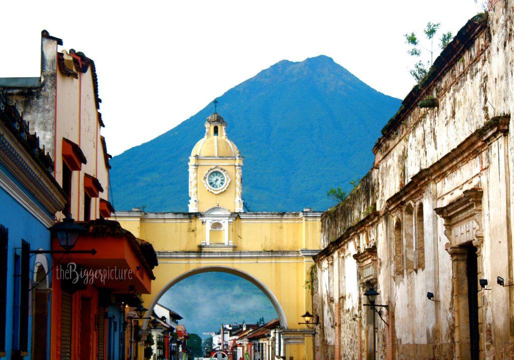 Antigua, Guatemala famous arc and volcano